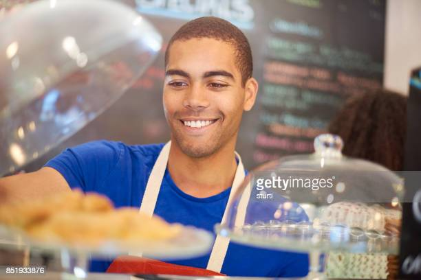 happy cafe worker