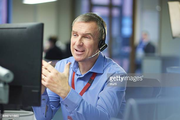 happy call centre representative - information technology support stock photos and pictures