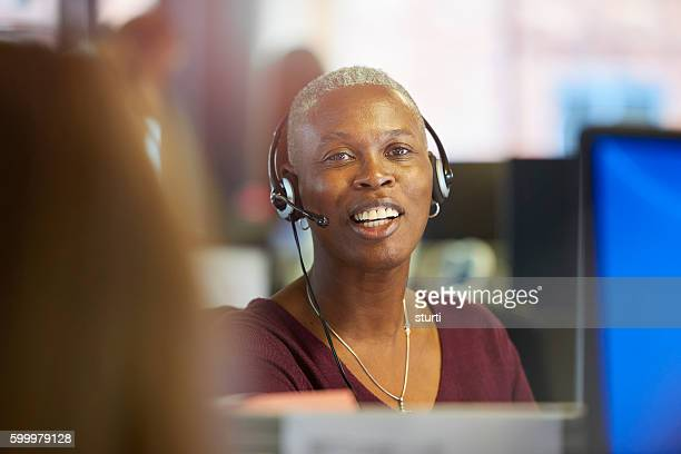 happy call centre worker