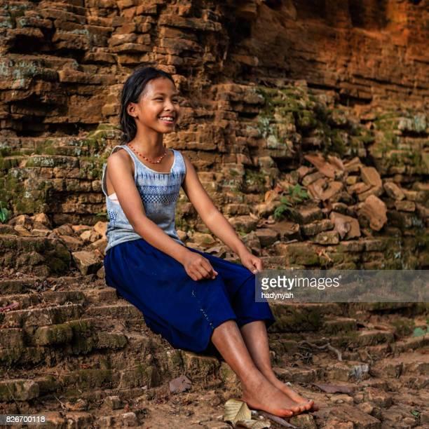 幸せなカンボジアの少女、カンボジア