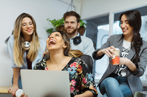 Happy casual coworkers in the office - gettyimageskorea