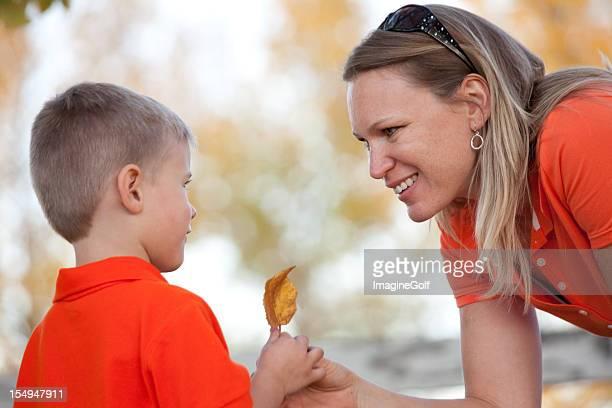 Happy Caucasian Woman with Preschooler
