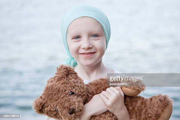 Happy Chemo Girl with Teddy Bear