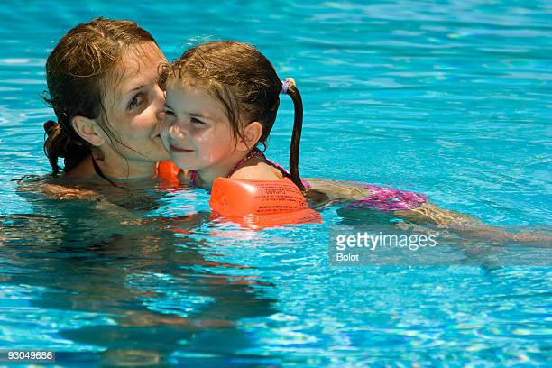 Happy child and mother in pool