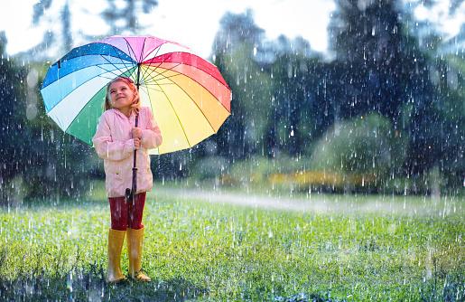 Happy Child With Rainbow Umbrella Under Rain 1021628638