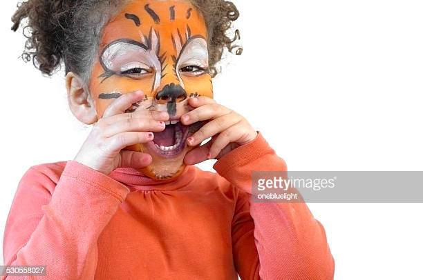 Happy Child (3-4) with Tiger Face Paint