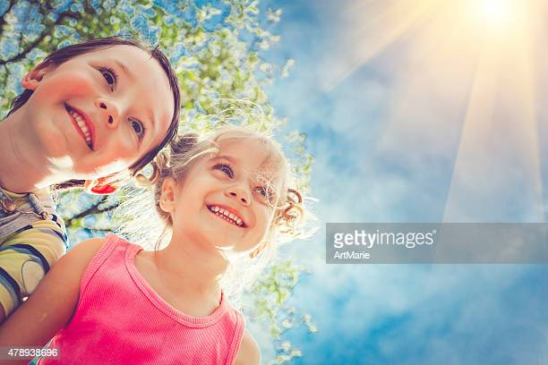 happy children in summer - small faces stock pictures, royalty-free photos & images
