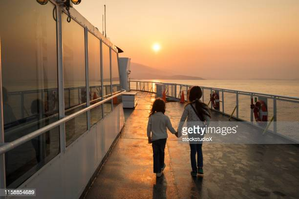 happy children on a summer vacation - ferry stock pictures, royalty-free photos & images