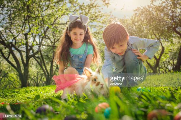 happy children playing with bunny on easter egg hunt - easter bunny costume stock pictures, royalty-free photos & images