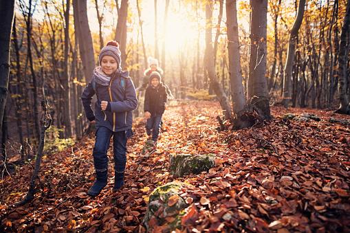 Happy children running in autumn forest 1015558734
