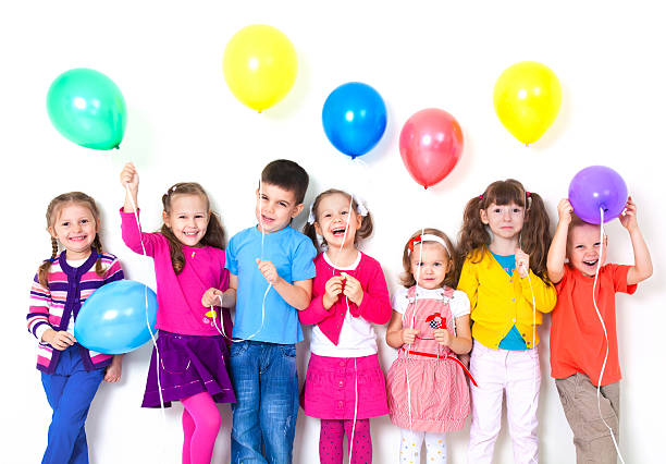 happy children with balloons - Free Images Of Kids