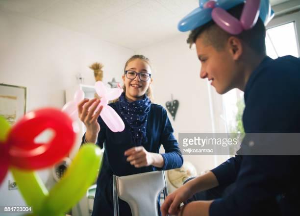 Happy children with balloons