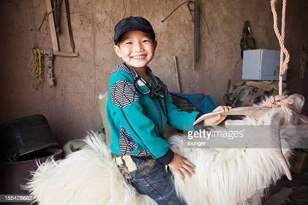 Happy Chinese boy riding sheep indoor