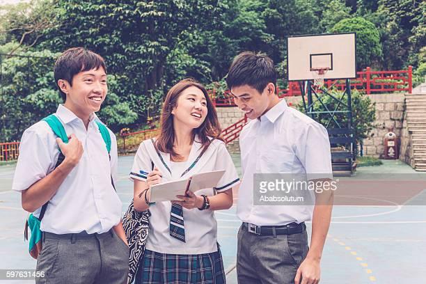Happy Chinese Students on Basketball Ground, Hong Kong, China, Asia