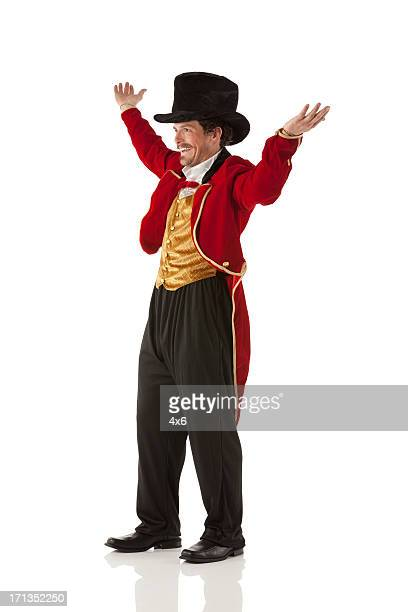 happy circus ringmaster - tail coat stock pictures, royalty-free photos & images