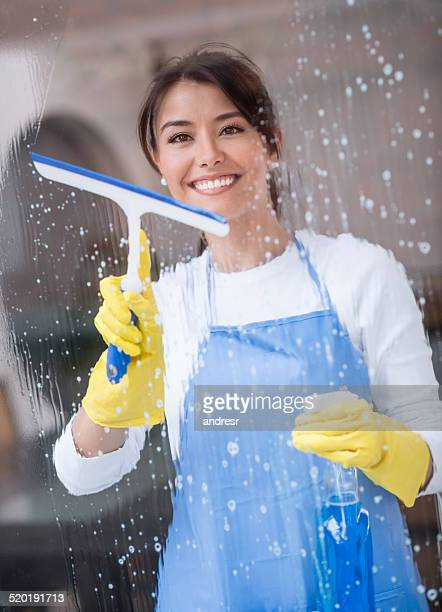 Happy cleaning lady