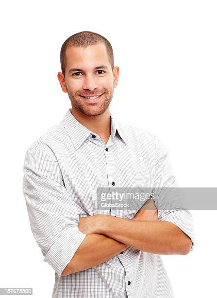 Happy confident guy isolated on white background