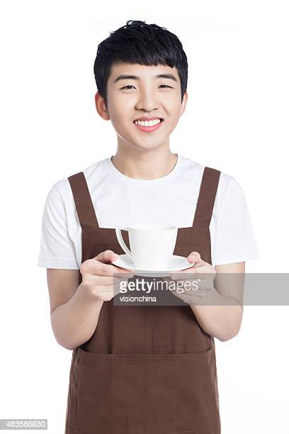 Happy confident waiter