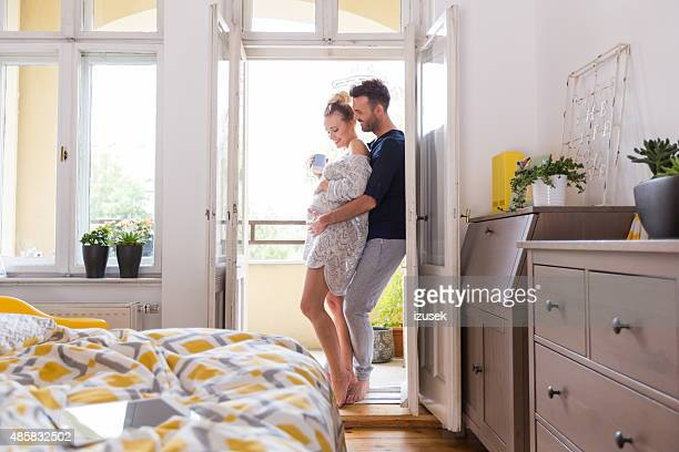 happy couple at home in the morning - wife photos stock photos and pictures