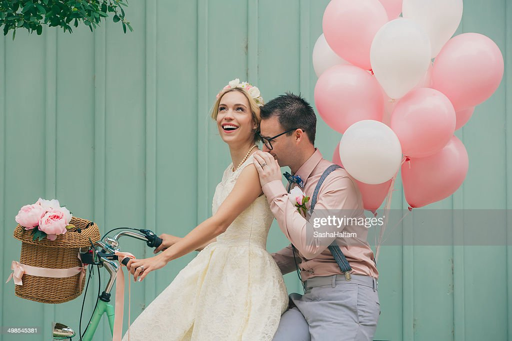 Happy Couple At The Wedding Day Vintage Style High-Res ...