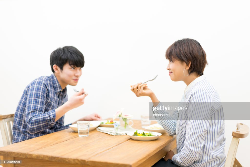 Happy couple eating scenery : Stock Photo