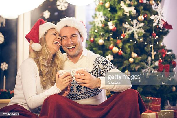 Happy couple enjoying Christmas