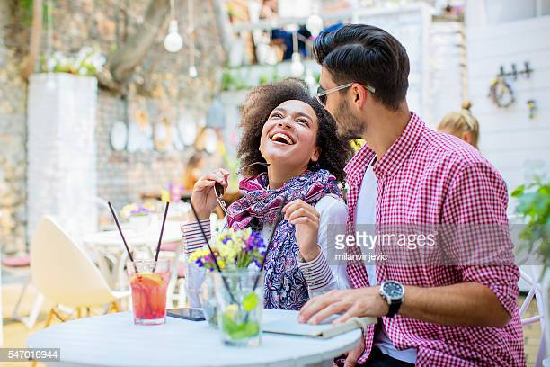 happy couple having a great time in caffe bar - love at first sight stock pictures, royalty-free photos & images