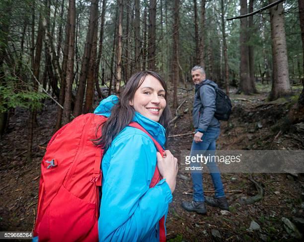 Happy couple hiking