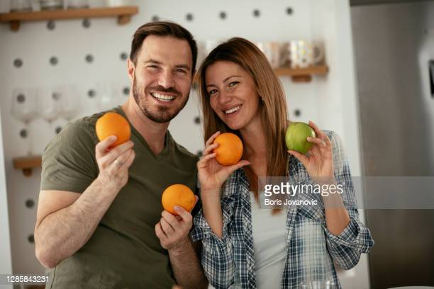 young couple kitchen happy couple is