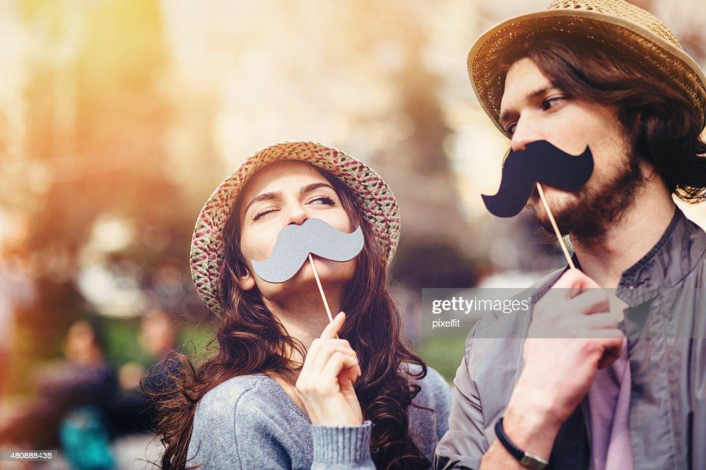 Happy couple making fun : Stock Photo