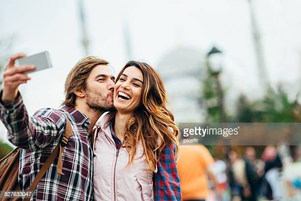 Happy couple making selfie in Turkey