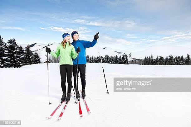Happy Couple Nordic Skiing