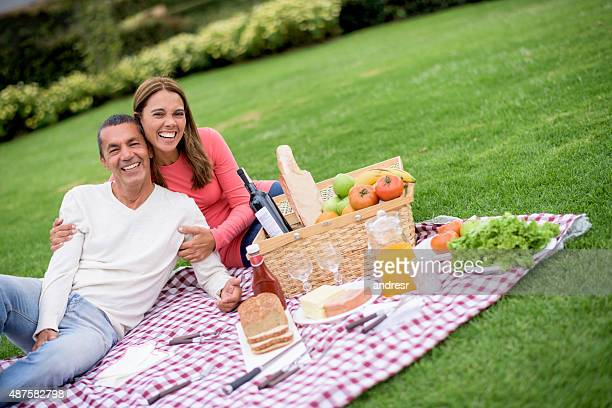 Happy couple on a pic nic