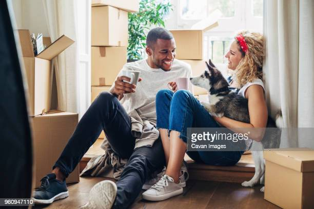 happy couple playing with dog while sitting at doorway in new house - new home stock pictures, royalty-free photos & images