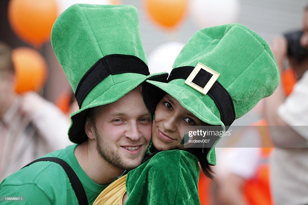 Happy couple portrait (Saint Patrick's Day) : Stock Photo