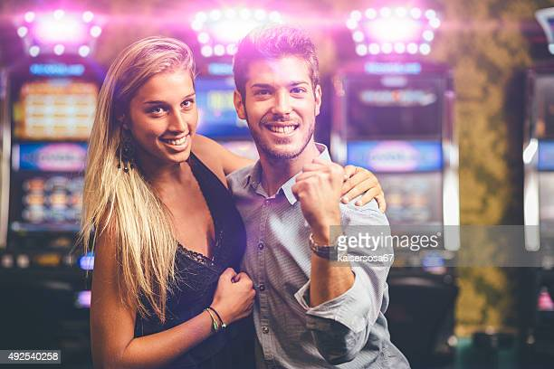 Happy Couple winning at Casino