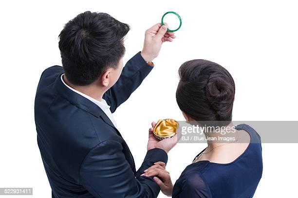 Happy couple with jade bracelet