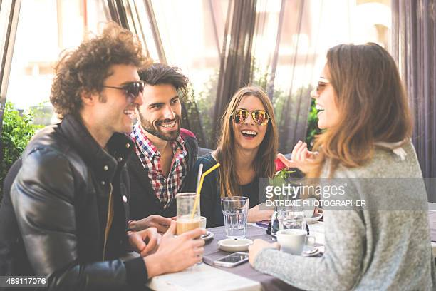 Happy couples on double date