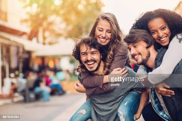 happy couples out in the city - bulgarian girl stock photos and pictures