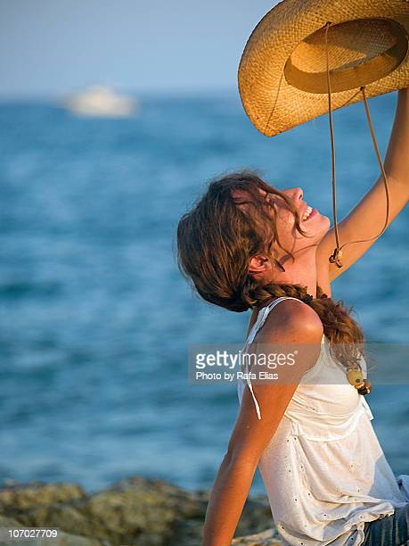 happy cowgirl - cowgirl hairstyles stock photos and pictures