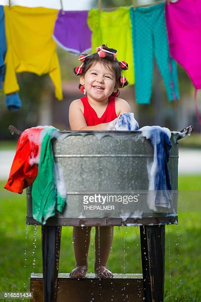 Happy cuban girl washing