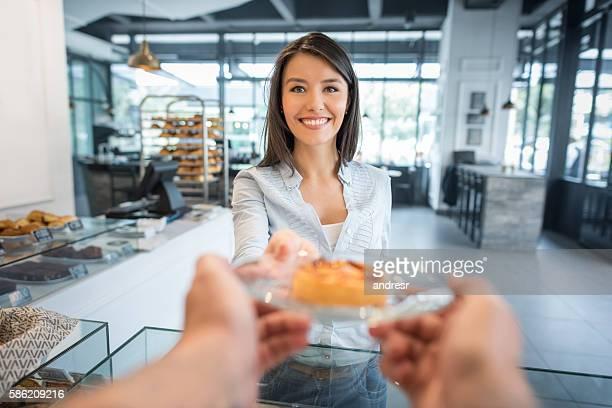 Happy customer at a bakery
