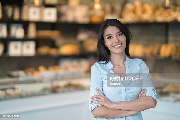 Happy customer at a bakery