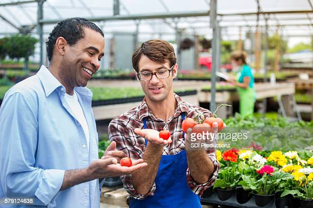 Happy customer being shown fresh tomatoes
