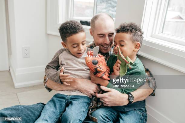 happy dad and  kids at home - family at home stock photos and pictures