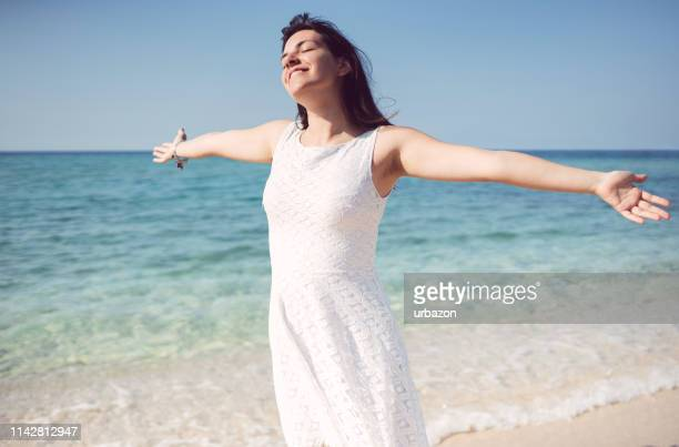 happy day on the beach - aegean sea stock pictures, royalty-free photos & images