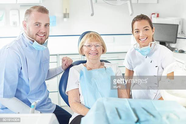 happy dentist visit for senior