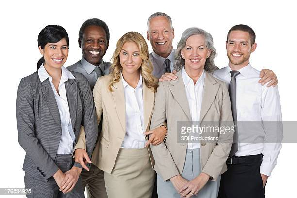 Happy diverse business team isolated on white background