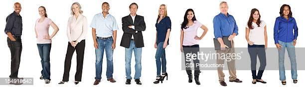幸せな多様なグループの大人の白背景 - 人種や民族 ストックフォトと画像