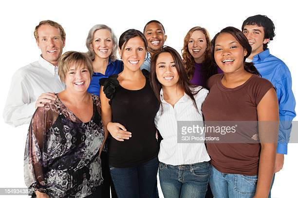 happy diverse group of people looking forward - small group of people stock pictures, royalty-free photos & images